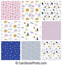 Retro memphis seamless patterns. 80-90s style - Retro...