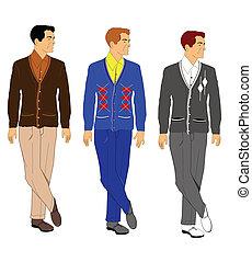retro men in cardigans