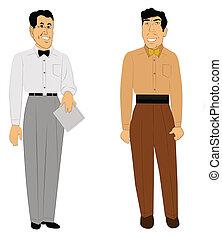 retro men in office attire