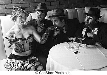 Retro men wooing female. - Three Caucasian prime adult males...