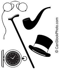 retro mens accessories 19th century black silhouette vector...