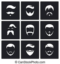 Retro Mens Hair Styles icon set - Hair Styles vector icons...