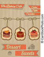 Retro Menu for the Cafe, Pastry Shop, Confectionery -...