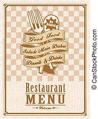 retro, menu, restaurant, conception