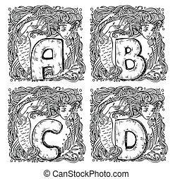 retro mermaid alphabet - a, b, c, d