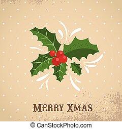 Retro Merry Christmas greeting card template with mistletoe