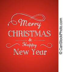 Retro Merry Christmas greeting card template with red background