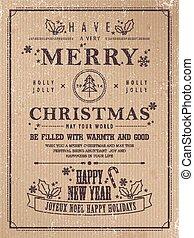 retro Merry Christmas poster