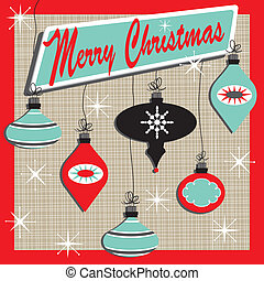 Retro inspired christmas card with cute ornaments