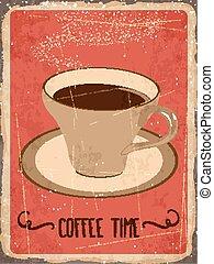 "Retro metal sign "" Coffee time"""