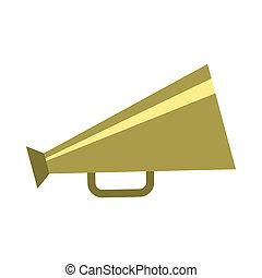 Retro metallic megaphone icon, flat style