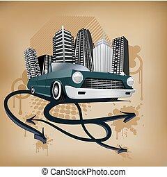 retro, miasto, i, wóz, afisz