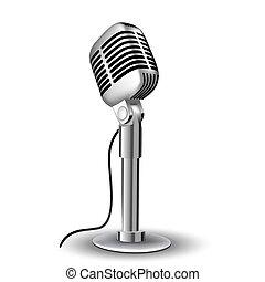 retro mic - illustration of retro mic on white background