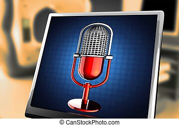 retro, micrófono, en, fondo azul, en, monitor