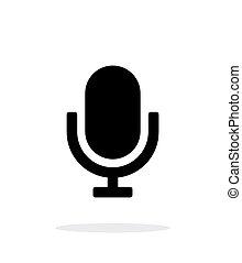 retro, micrófono, icono, blanco, fondo.