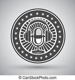 retro, micrófono, y, auriculares, emblema
