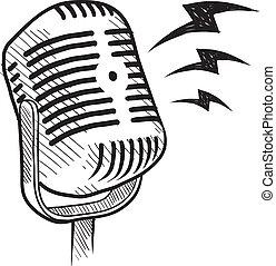 retro, microfone, esboço