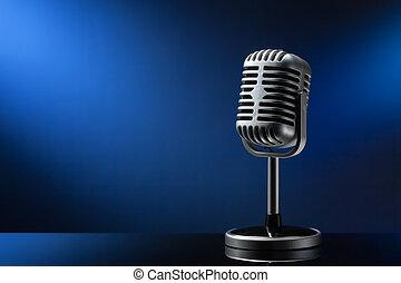 retro, microfone, ligado, azul
