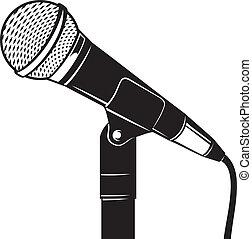 retro, microfono, con, stare in piedi