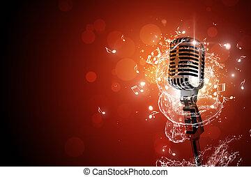 retro, microfono, musica, fondo