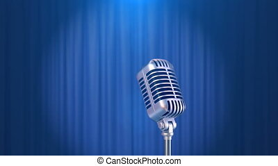 Retro Microphone and a Blue Curtain Background, Beautiful...