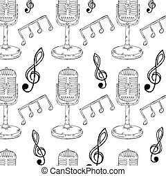 retro microphone and music notes background