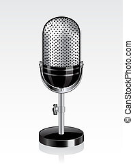 Retro microphone isolated on the white