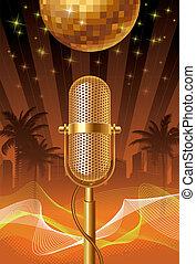 Retro microphone & disco ball on a tropical cityscape - vector illustration