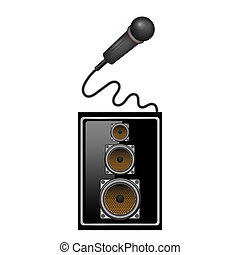 Retro Microphone Icon and Musical Sound Speaker Isolated on White Background