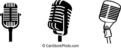 retro microphone icon isolated on background