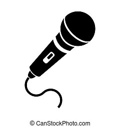 Retro Microphone Icon Isolated on White Background