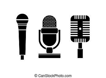 Retro microphone icon set