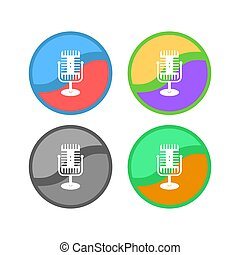Retro Microphone Icon Set Isolated on White Background