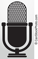 Retro microphone icon, vector illus