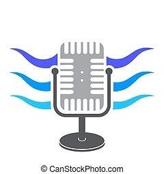 Retro Microphone Icon with Blue Sound Waves Icon. Music Audio Symbol. Speaker Logo Design. Studio Mic Concept