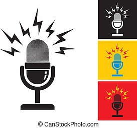 illustration of retro microphone and loud sound