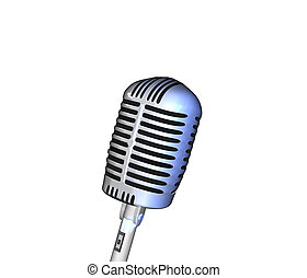 Retro Microphone - Image of a retro microphone isolated on a...