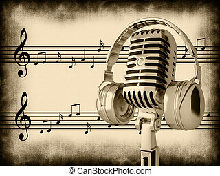 Retro microphone - Image of a retro microphone with musical...