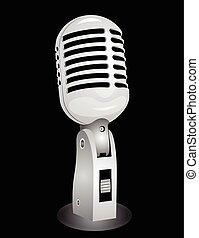 Retro microphone isolated on black EPS10