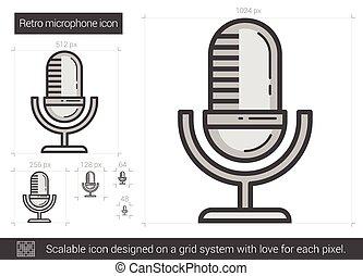 Retro microphone line icon.