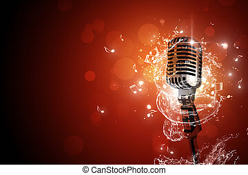 retro, microphone, musique, fond