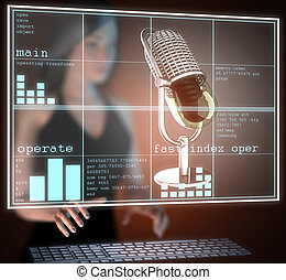 Retro microphone on hologram