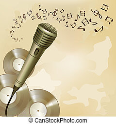 Retro microphone on music background - Music symbols and...