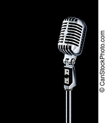 Professional ''Retro'' Microphone Over Black With Text Area (+clipping path for easy background removing if needed)
