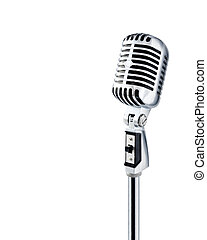 Professional ''Retro'' Microphone Over White With Text Area (+clipping path for easy background removing)