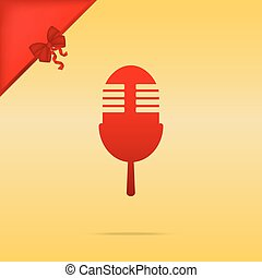 Retro microphone sign. Cristmas design red icon on gold background.
