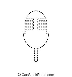 Retro microphone sign. Vector. Black dashed icon on white background. Isolated.