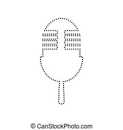 Retro microphone sign. Vector. Black dotted icon on white background. Isolated.