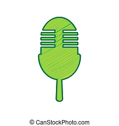 Retro microphone sign. Vector. Lemon scribble icon on white background. Isolated