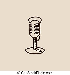Retro microphone sketch icon.